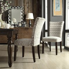 Oxford Creek Melrose Grey and White Chevron Parson Side Chair (Set of 2) Gray