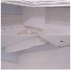 This photograph is difficult to see, but it illustrates an ingenious idea: An upper cabinet dead corner was used to create a hidden paper towel niche. Now you see it, now you don't.