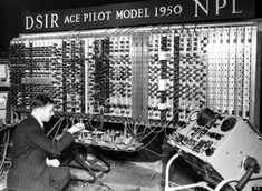 The National Physical Laboratory's Pilot Automatic Computing Engine (ACE) electronic computer, featuring 800 vacuum tubes and mercury delay line memory.