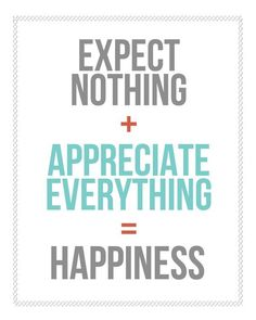 Quotes about Happiness : Expect Nothing  Appreciate Everything = Happiness  Free printable from landeel