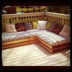quick and easy soft seating - pallet couches, ottomans. This would be ideal on the deck overlooking the pond!