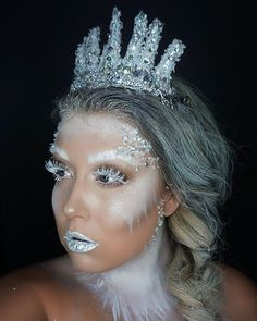 Ice queen Halloween costume makeup Ice princess Frozen