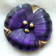 Czech Glass Button Purple Pansy Realistic Reverse Painted