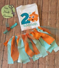 Finding Nemo Inspired Outfit - Birthday - Cake Smash - Tutu and Headband Bow