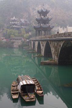 Boats near Zhenyuan bridge ~ Wuyang, Guizhou, China