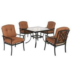 Hampton Bay, Cedarvale 5-Piece Patio Dining Set with Nutmeg Cushions, 133-008-5D at The Home Depot