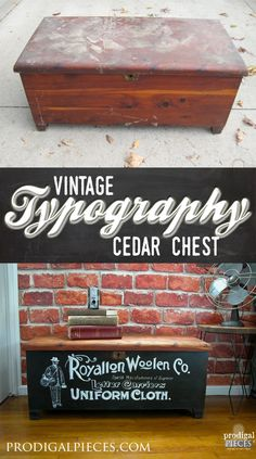 Vintage Typography Acme Cedar Chest This thrifted Acme cedar chest had seen better days. Now it's an industrial work of art with vintage typography by Prodigal Pieces Furniture Projects, Furniture Making, Furniture Makeover, Diy Furniture, Diy Projects, Repurposed Furniture, Painted Furniture, Distressed Dresser, Vintage Typography