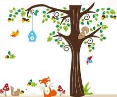 Muursticker bos met diertjes <br /> Deze leuke boom met uiltjes staat mooi op de kinderkamer of babykamer.