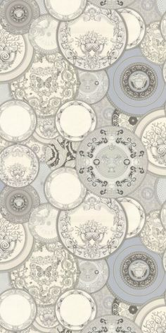 Decorative Plates by Versace - Silver Grey - Wallpaper : Wallpaper Direct