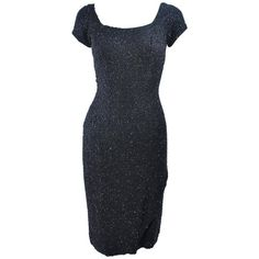 CEIL CHAPMAN 1960's Black Hand Beaded Silk Cocktail Dress with Drape Size 4  | From a collection of rare vintage evening dresses and gowns at https://www.1stdibs.com/fashion/clothing/evening-dresses/