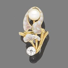 An Art Nouveau pearl, enamel and diamond dress ring, circa 1900  The pink and purple plique-à-jour enamelled orchid, decorated with an unblossomed bouton pearl bud, its textured stem highlighted with an old brilliant-cut diamond, diamond approx. 0.65ct.