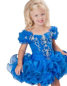 Blue Infants Cupcake Flower Dresses Crystals Short Little Girl's Beauty Pageant #Unbranded #DressyHolidayPageantWedding
