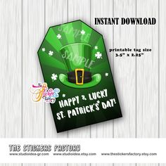 INSTANT DOWNLOAD- Happy St Patrick's Day Theme Rectangle Tag- You Print -St Patrick's Gift tag Printable Tags, Printables, Happy St Patricks Day, Printing Services, Gift Tags, Card Stock, At Least, Gifts, Presents