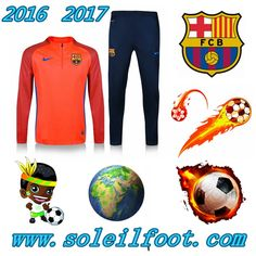 Homme: Nouveau Survetement Du FC Barcelone Orange Saisson 16 17