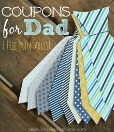 Need gift ideas for Father's Day? Create a personalized, diy craft with these free printable coupons for dad.  These are ties he can really use!