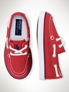 Red boat shoes.