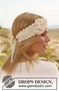 """Fita de cabelo DROPS com flores, em croché, em """"Safran"""". ~ DROPS Design"""