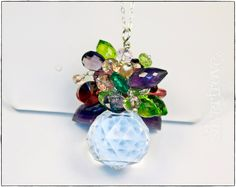 Gemstone Bouquet Pendant Necklace Sterling Silver Faceted Gemstones and Crystals Amethyst Peridot Garnet Quartz Pearl Swarovski Crystal by SilverTrove on Etsy