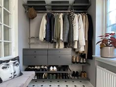 Closet Rod, Walk In Closet, Wire Shelving, Shelves, Grey Drawers, Platinum Grey, Drawer Fronts, Tool Design, Organization Hacks