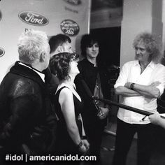 The Queen Extravaganza was interviewed with Brian May and Roger Taylor after their performance at the Top 6 results show. #idol