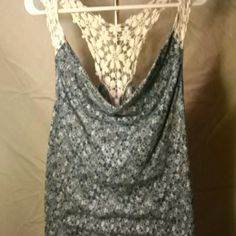 Lace tank top Flowery tank with a lace razorback Wet Seal Tops Tank Tops