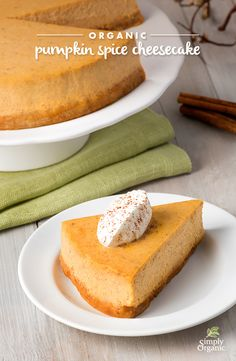 The mingling of warming organic spices in this spiced pumpkin cheesecake recipe make for a delightfully different dessert.