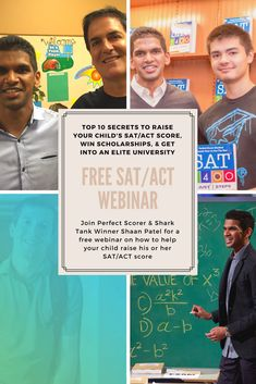 Join Perfect Scorer & Shark Tank Winner Shaan Patel for a free webinar on how to help your child raise his or her SAT/ACT score, win thousands in college scholarships, and receive admission into an elite university. How To Find Scholarships, Nursing School Scholarships, Nursing Schools, Act Math, School Survival Kits, Act Prep, Top Colleges, Homeschool High School, Never Stop Learning
