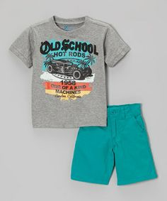 Another great find on #zulily! Gray Vintage Car Tee & Teal Shorts - Toddler & Boys by BOYZ WEAR #zulilyfinds