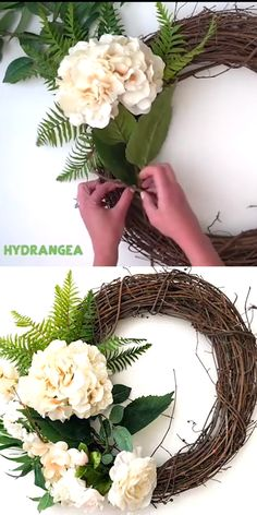 You won't believe how fast and easy this DIY Hydrangea & Fern Wreath is! Decorate your door for spring or summer with this beautiful grapevine wreath decorated with neutral flowers and greenery.Outstanding DIY projects are available on our site. Wreath Crafts, Diy Wreath, Grapevine Wreath, Bow For Wreath, Wedding Door Wreaths, Ribbon Wreath Tutorial, Diy Wedding Garland, Willow Wreath, Cross Wreath