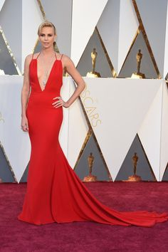 charlize theron plunging v-neck red mermaid evening prom dress 2016 oscars