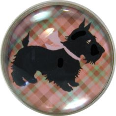 "Crystal Dome Button Scottie - Retro Pink Plaid - 1"" low dome"