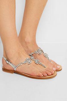 Musa|Crystal-embellished metallic leather sandals|NET-A-PORTER.COM