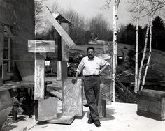 """""""Smith as a working class artist-labourer... at his studio among the welding tools, hacksaws, tyres and metal sheets that became the tools of his craft.""""    Be sure to check out all of these photos. If you can, make it his retrospective """"Cubes and Anarchy"""" at either the Whitney or the Wexner Centre."""
