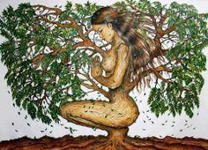 """""""Toda mulher parece uma árvore. Nas camadas mais profundas de sua alma ela abriga raízes vitais que puxam a energia das profundezas para cima, para nutrir suas folhas, flores e frutos. Ninguém compreende de onde uma mulher retira tanta força, tanta esperança, tanta vida. Mesmo quando são cortadas, tolhidas, retalhadas de suas raízes ainda nascem brotos que vão trazer tudo de volta à vida outra vez. Elas têm um pacto com essa fonte misteriosa que é a natureza.""""   Clarissa Pínkola Estés"""
