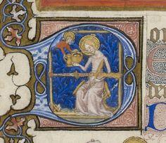 Bibliothèque nationale de France, Département des Manuscrits, NAL 3093, fol 1v. Très belles Heures de Notre-Dame. 1375-1400/1400-1425.
