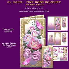 """A 3-sheet mini-kit for a DL size card (which will fit in a normal 4.1/4"""" x 8.1/2"""" envelope with plenty of room to spare) it features a beautiful spray of large Pink Roses tied with a satin bow, embellished with toning butterflies, set in a gold filigree frame surround. The kit contains a complete cut and fold card, a matching insert and gift card, and decoupage for the card front.  There are also two toppers which you can use any way you wish. There are also six greetings panels, two are…"""
