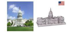 3D Metallic Mini DIY Puzzle Stainless USA United States Capitol #MetalWorks