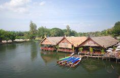 Floating Restaurant Rafts, Kanchanaburi - Thailand