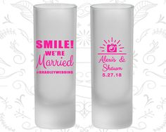 Smile We are Married, Frosted Shooter Glass, Hashtag Wedding, Wedding Party, Camera (362)