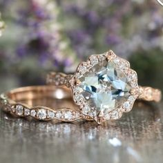 Ring pick of the day! I adore this aquamarine diamond and rose gold bridal set from @lamoredesign  It's really quite perfect. And it's a beautiful alternative center stone to diamonds for those who are conflict-stone concerned or just on the budget-friendly side of things! by rebeccaschoneveld_bridal