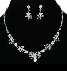 Blumen Kristall Strass Braut Collier Halskette Ohrringe Schmuckset