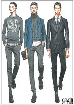 Cavalli Class Sketch - fashion illustration men Un staring to think for mens design.