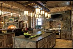 Fabulous and rustic log home kitchen, Bozeman, Montana