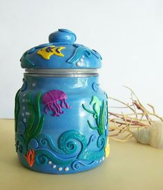 Polymer Clay decorated Glass Jar - Under the Sea