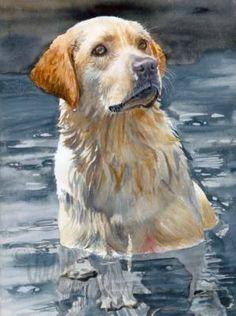 LABRADOR RETRIEVER Dog Pet Portrait Watercolor Art by k9stein, $22.50