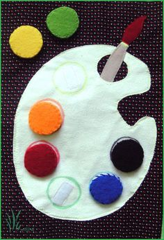 Artist's palette quiet book page Write the colors along the palette to help them learn color words/matching. Diy Quiet Books, Baby Quiet Book, Felt Quiet Books, Silent Book, Quiet Book Patterns, Teaching Colors, How To Make Toys, Toddler Books, Busy Book