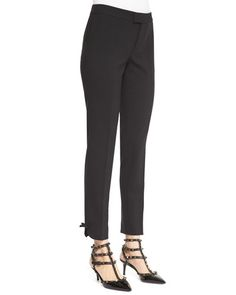 RED Valentino Cropped Pants with Bow Cuff Detail