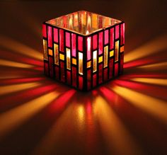 CLARICE Red Stained Glass Mosaic Candle Holder by ShardsofGlass, $20.00