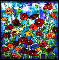 I adore poppies in glass!  Wish I had the talent to create this pattern for my own use.