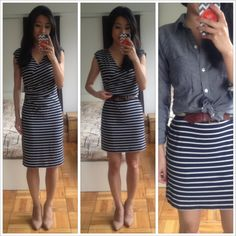 Works best with more fitted dresses -- 1) Add Belt 2) Fold excess length over top of belt 3) Conceal w/blouse